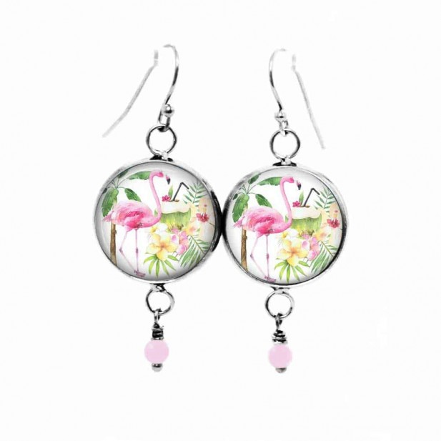 Tropical pineapple dangle earrings in pinks and greens