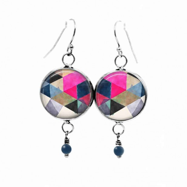 Watercolor triangles themed dangle earrings in hot pink, navy and black