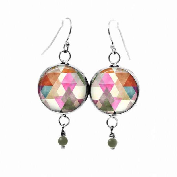 Watercolor triangles themed dangle earrings in rusts, pinks and blues