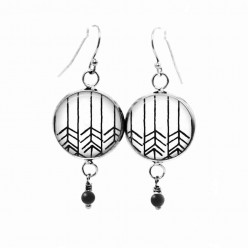 Black and white chevron themed dangle earrings with black glass bead