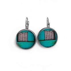 "Sleeper or French hook earring with ""Asia Turquoise Grunge "" theme"