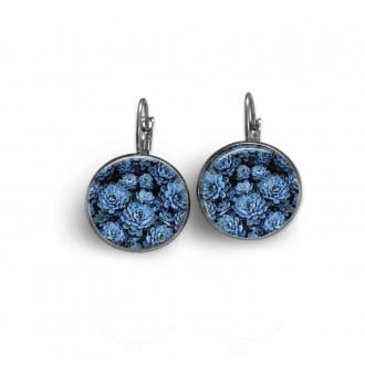 Boucles d'oreilles dormeuses Thème Ostara Fleurs bleues
