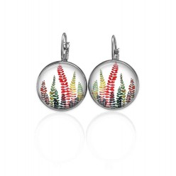 Lever-back earrings with a multi-colored naïve leaves theme