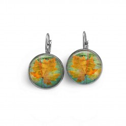 "Lever-back earrings with a yellow leaf on green background ""herbarium"" theme"
