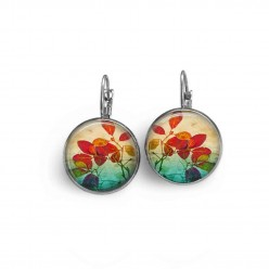Lever-back earrings with a herbarium theme featuring a red leaves and emerald green theme