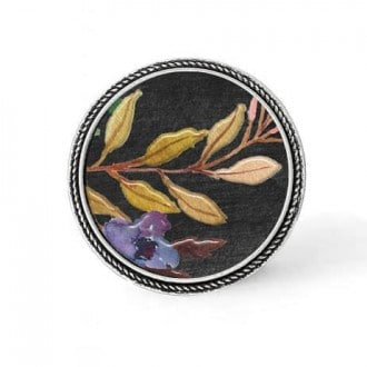 Bouton - cabochon en forme de Cadre en 30mm pour collier interchangeable : thème Boho floral sur fond noir