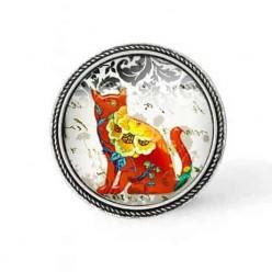 Bouton - cabochon en forme de Cadre en 30mm pour collier interchangeable : thème Chat floral rouge
