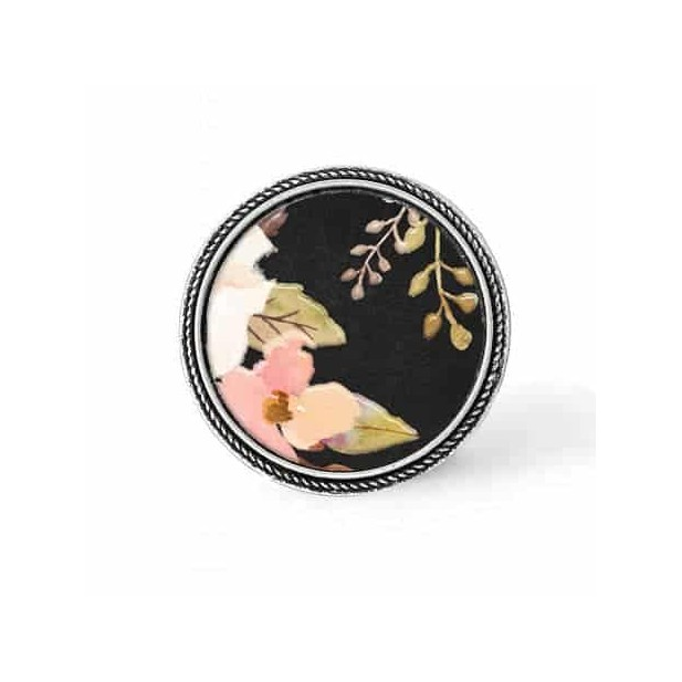 Bouton - cabochon en forme de Cadre en 30mm pour collier interchangeable : thème boho floral sur fond noir - fleurs roses et feu