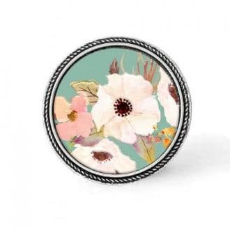 Bouton - cabochon en forme de Cadre en 30mm pour collier interchangeable : thème boho floral font vert d'eau et fleurs blanches