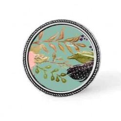 Bouton - cabochon en forme de Cadre en 30mm pour collier interchangeable : thème boho floral sur fond vert d'eau - fleurs roses