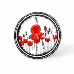 Framed 30mm snap on interchangeable button - cabochon with 2 dimensional naïve poppies theme