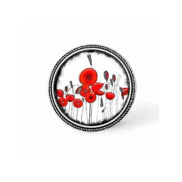 Bouton - cabochon en forme de Cadre en 30mm pour collier interchangeable : thème coquelicots naîfs