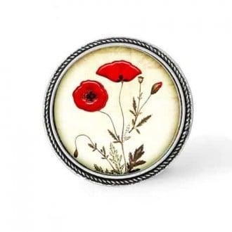 Bouton - cabochon en forme de Cadre en 30mm pour collier interchangeable : thème coquelicots botaniques