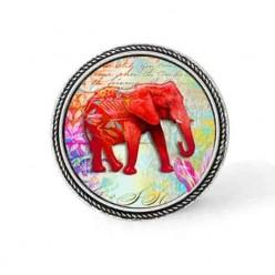 Bouton - cabochon en forme de Cadre en 30mm pour collier interchangeable : thème Elephant rouge
