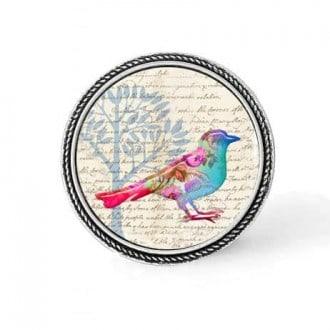 Bouton - cabochon en forme de Cadre en 30mm pour collier interchangeable : thème Oiseau floral pastel