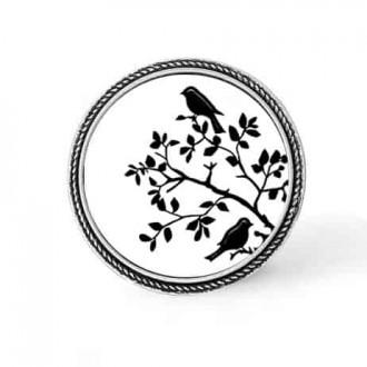 Bouton - cabochon en forme de Cadre en 30mm pour collier interchangeable : thème oiseaux sur les branches noir et blanc