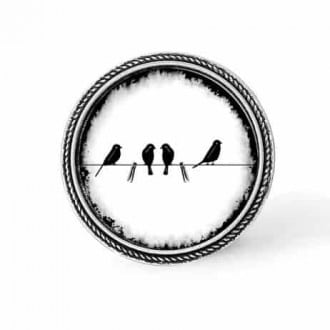 Bouton - cabochon en forme de Cadre en 30mm pour collier interchangeable : thème oiseaux sur le fil noir et blanc