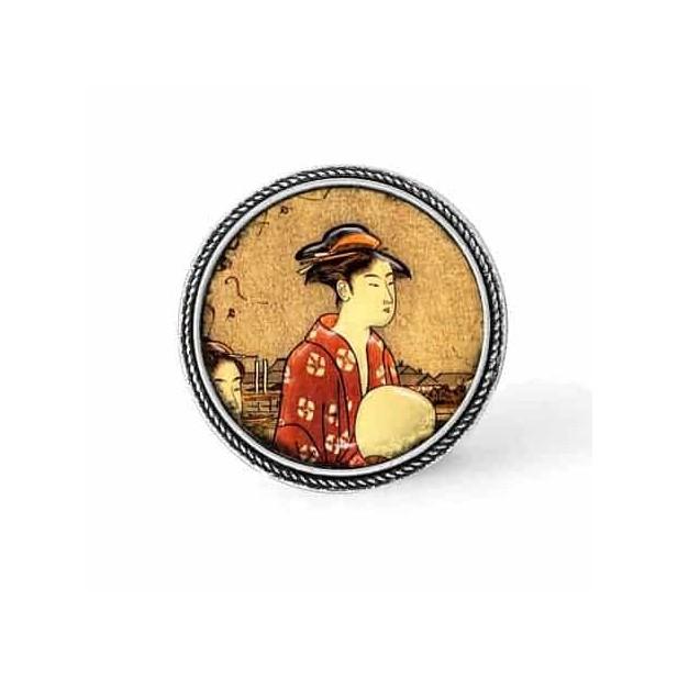 Bouton - cabochon en forme de Cadre en 30mm pour collier interchangeable : thème Geisha