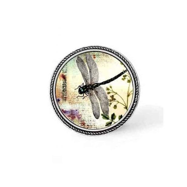 Bouton - cabochon en forme de Cadre en 30mm pour collier interchangeable : thème libellule et végétation.