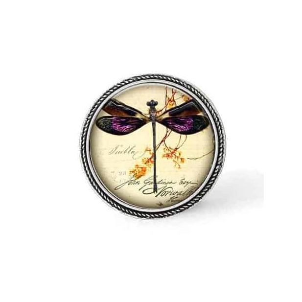 Bouton - cabochon en forme de Cadre en 30mm pour collier interchangeable : thème Libéllule vintage.