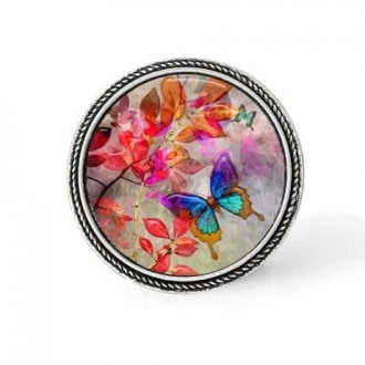 Bouton - cabochon en forme de Cadre en 30mm pour collier interchangeable : thème Summertime papillon turquoise sur fond de feuil
