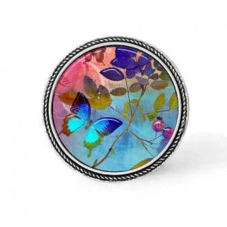 Bouton - cabochon en forme de Cadre en 30mm pour collier interchangeable : thème Summertime Papillon turquoise