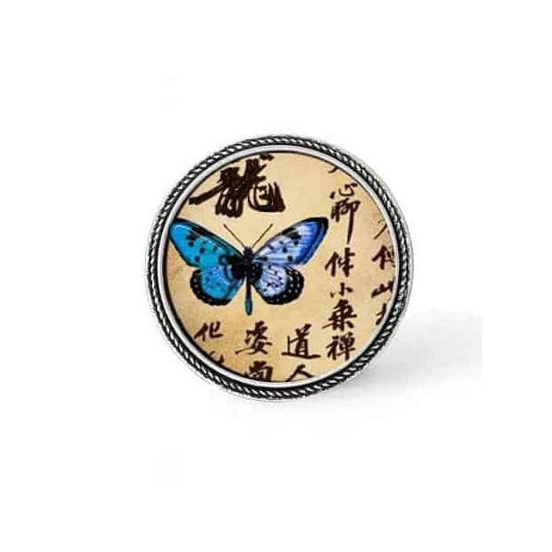 Bouton - cabochon en forme de Cadre en 30mm pour collier interchangeable : thème papillon d'Asie bleu