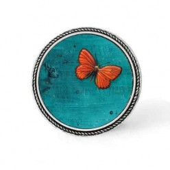 Framed 30mm 2d effect clip-on snap button : orange butterfly on deep turquoise backgro