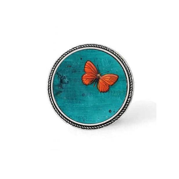 Bouton - cabochon en forme de Cadre en 30mm pour collier interchangeable : thème papillon orange sur fond turquoise