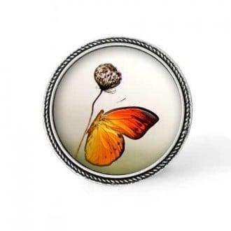 Bouton - cabochon en forme de Cadre en 30mm pour collier interchangeable : thème Papillon orange