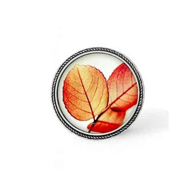 Bouton - cabochon en forme de Cadre en 30mm pour collier interchangeable : thème Fleurs orangées