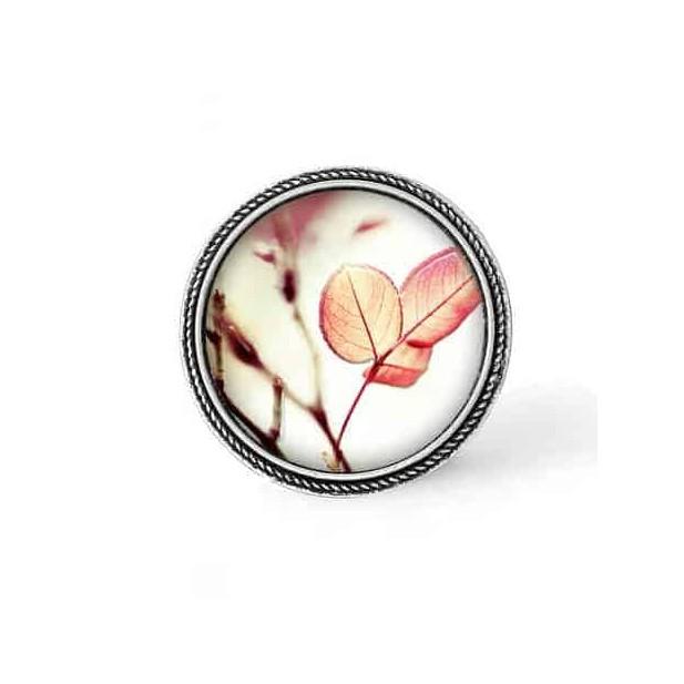 Bouton - cabochon en forme de Cadre en 30mm pour collier interchangeable : thème Feuilles roses
