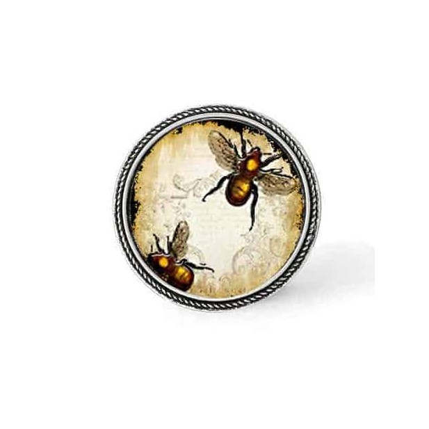Bouton - cabochon en forme de Cadre en 30mm pour collier interchangeable : thème abeilles vintage
