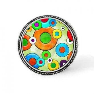 Bouton - cabochon en forme de Cadre en 30mm pour collier interchangeable : thème Cercles Pop art