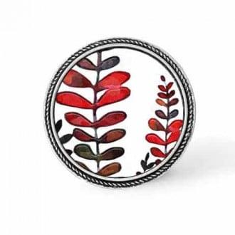 Bouton - cabochon en forme de Cadre en 30mm pour collier interchangeable : thème Feuilles naïves rouges et khakis