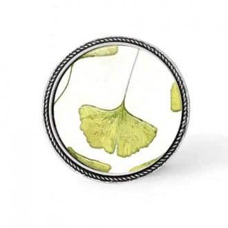 Bouton - cabochon en forme de Cadre en 30mm pour collier interchangeable : thème Feuille de gingko solitaire vert anis