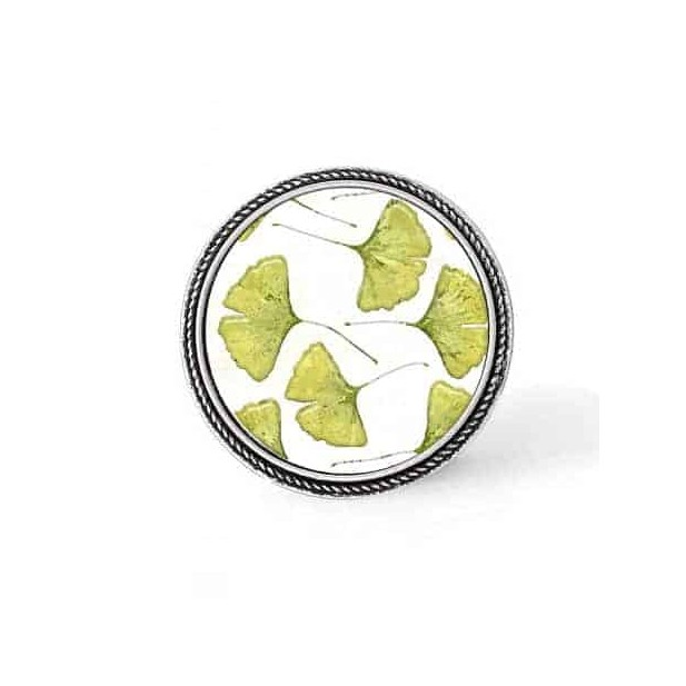 Bouton - cabochon en forme de Cadre en 30mm pour collier interchangeable : thème Feuille de gingko vert anis