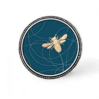 Bouton - cabochon en forme de Cadre en 30mm pour collier interchangeable : thème abeille sur un fond bleu sarcelle profond