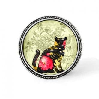 Bouton - cabochon en forme de Cadre en 30mm pour collier interchangeable : thème Chat Floral noir et rose