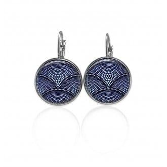 Boucles d'oreilles dormeuses Thème Bleu Batik bleu marine