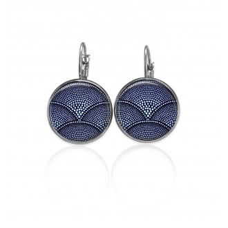 Lever-back earrings with a navy blue batik theme
