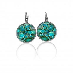 Lever-back earrings with a deep turquoise rounds theme