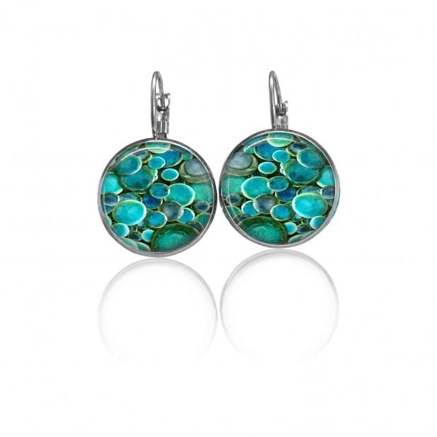 Boucles d'oreilles dormeuses Thème Ronds céramique Turquoise émeraude
