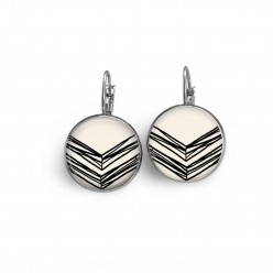 Lever-back earrings with a black and white hand-drawn chevron theme
