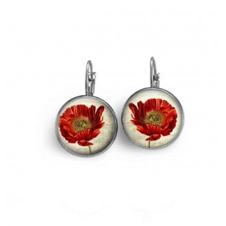 Lever-back earrings with a large botanical Poppy theme (close up)