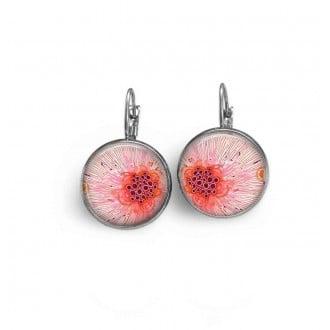 Boucles d'oreilles dormeuses thème abstrait Giclée rose.