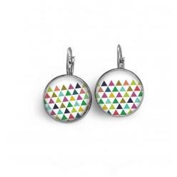 Boucles d'oreilles dormeuses thème triangles multicolores.
