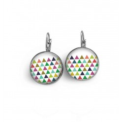 Lever-back earrings with a multi-color triangles theme.