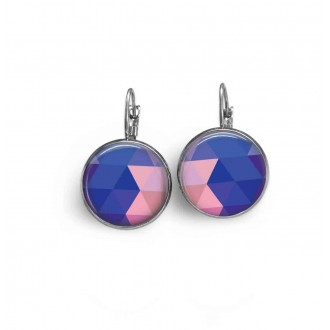 French wire earrings with a blue and pink triangles theme.