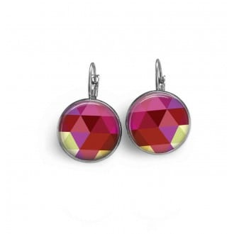 French wire earrings with a pink triangles theme.